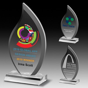 "Multi-Faceted Acrylic Flame Award (4""x7 3/4""x3/4"") - Screen Imprint"